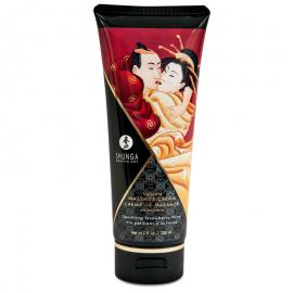 Crème de massage délectable Shunga - Fraise & Vin pétillant