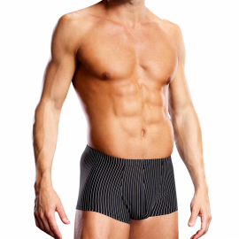 Black Sexy Boxer with white stripes Performance Microfiber - Blue Line