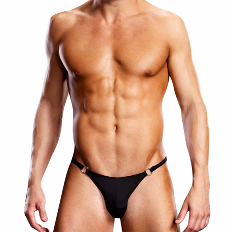 Performance Microfiber Thong With Metal Rings Black - Blue Line