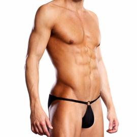 Bikini sexy avec anneau Performance Microfiber Pouch Noir - Blue Line