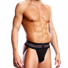 Jock Strap Performance Microfiber Black - Blue Line