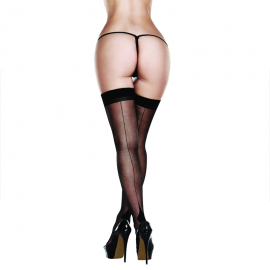 Collant Sexy Sheer Cuban Heel Thigh Highs - Baci