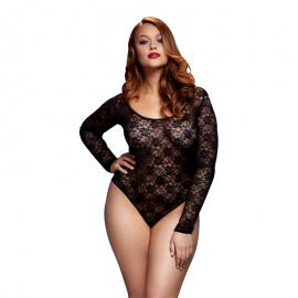 Bodys sexy Grande taille Black Lacy Bodysuit Back Cutout - Baci