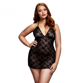 Black Lacy Bodysuit Back Cutout Queen Size - Baci
