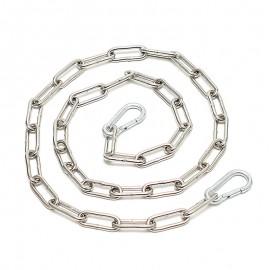 Chaîne métallique soudée avec 2 crochets à carabine (1 m.)