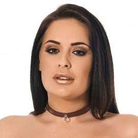 Collare BDSM in pelle Marrone (1.5 cm di larghezza)