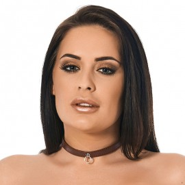 Leather BDSM collar Brown (width 1.5 cm)