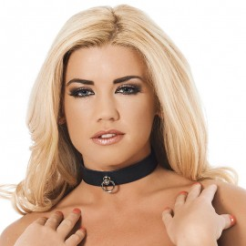 Leather BDSM collar Black (width 2.5 cm)