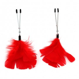 Nipple Clamps with feather Red - Rimba