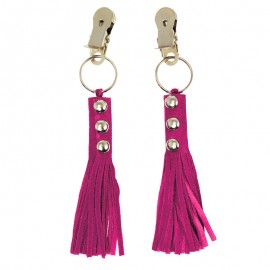Nipple clamps with little leather whips (Pink) - Rimba