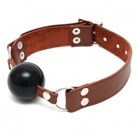 Ball Gag in silicone e pelle Ø 4.4 cm Marrone - Rimba