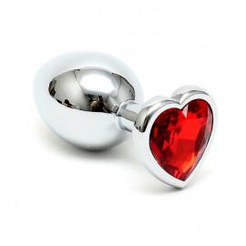 Buttplug aus Edelstahl mit Herzform Kristal (Rot) - Rimba