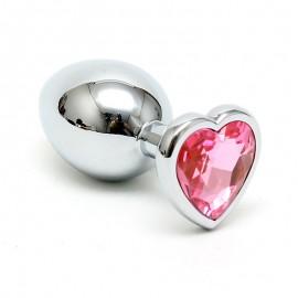 Butt plug con cristallo a forma di cuore (Pink) - Rimba