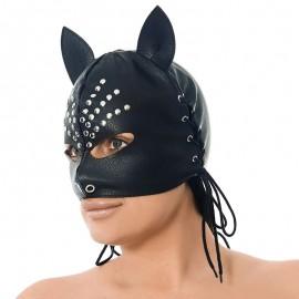 BDSM Nappaleder Maske mit Ohren - Rimba