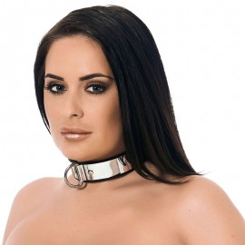 Metallic BDSM collar with padlock (width 3.5 cm) - Rimba