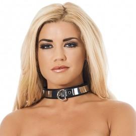 Metallic BDSM collar with padlock (width 2.8 cm) - Rimba