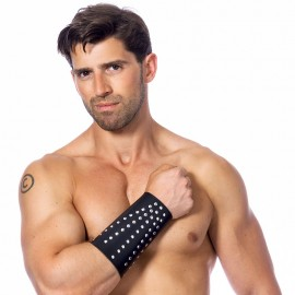 Bdsm leather arm gauntlet with rivets (Man) – Rimba