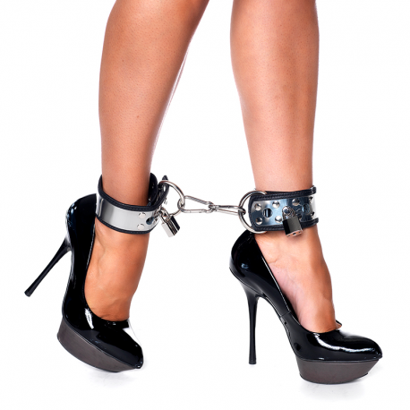 Leather and metal Ankles cuffs with padlock - Rimba
