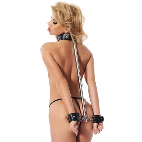 Adjustable spreader bar with leather handcuffs (55-85 cm) - Rimba