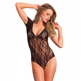 Sexy Floral Lace Backless Teddy - Leg Avenue