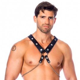 BDSM Leather harness with metal chains (Man) – Rimba