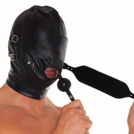 Leder BDSM Haube mit Ball Gag - Rimba