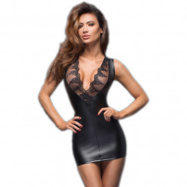 Sexy Mini Dress Powerwetlook - Noir Handmade
