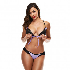 Sexy Lace Panty and Bra Set (Schwarz - purple) - Baci
