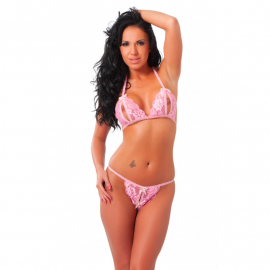Offener Sexy Dessous Set 2 Stk. pink - Rimba