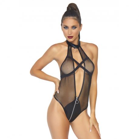 Black Sexy Teddy with fishnet - Leg Avenue