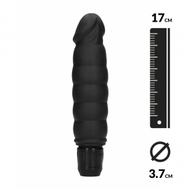 Vibrator realistic Black Ribbed Multispeed – Shots Toys