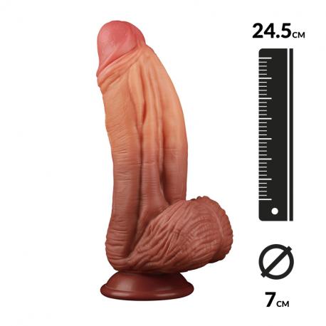 Dildo realistic XXL double density (24.5 cm) - LoveToy Nature Cock