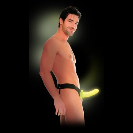 Dildo cavo fluorescente con imbracatura Glow In The Dark - Pipedream