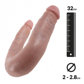 Dildo realistico incurvato Flesh Small - King Cock Double Trouble