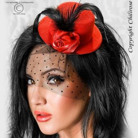 Mini Cappello burlesque CR-3218 Rosso - Chilirose
