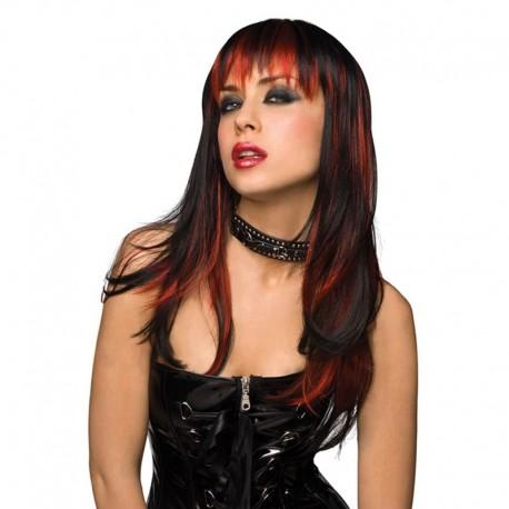 Phantasie Perücke schwarze lange Haare - Courtney